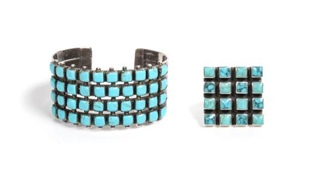 Southwestern Silver and Turquoise Cuff Bracelet and