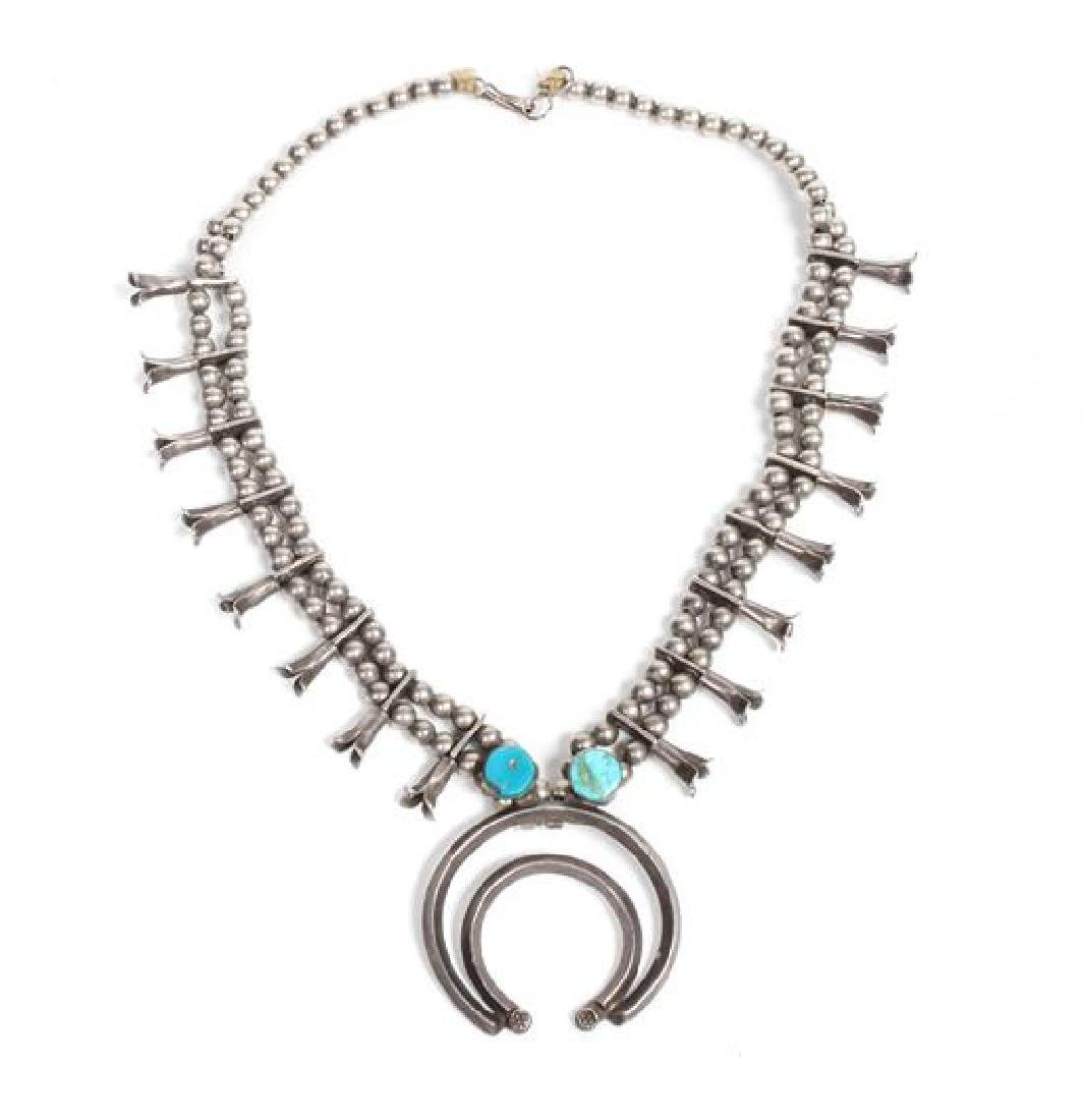 Southwestern Silver and Turquoise Squash Blossom Length