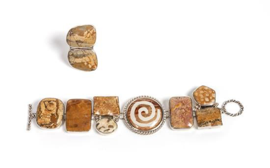 Two Southwest Style Petrified Wood Jewelry Articles