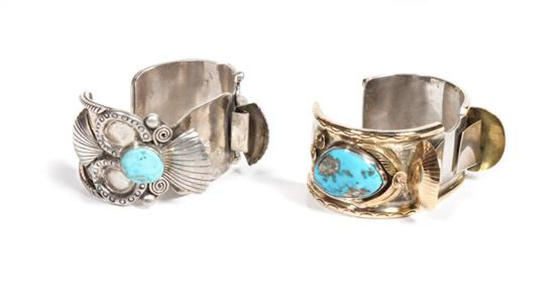 Two Southwestern Silver and Turquoise Watch Bands