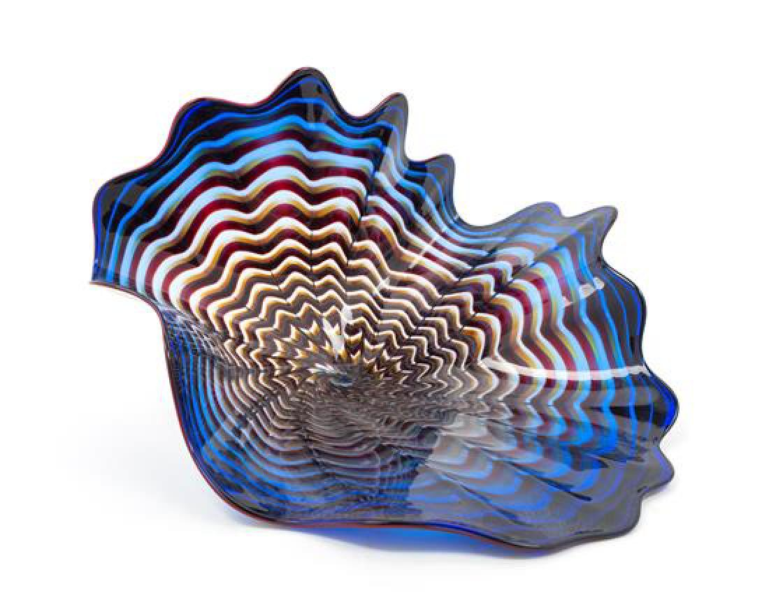 Dale Chihuly, (American, b. 1941), Blue Sea Form, 1990
