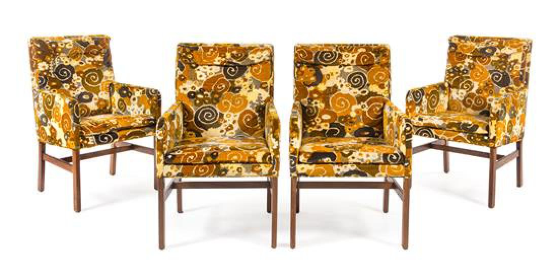 American, c.1960, a set of 4 armchairs, with Jack