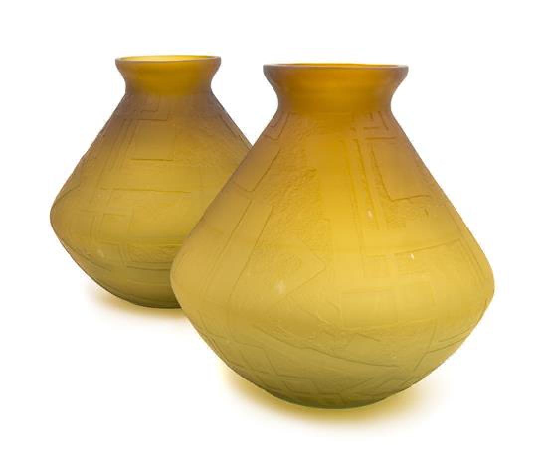 Daum, France, 1920s, a pair of Art Deco vases