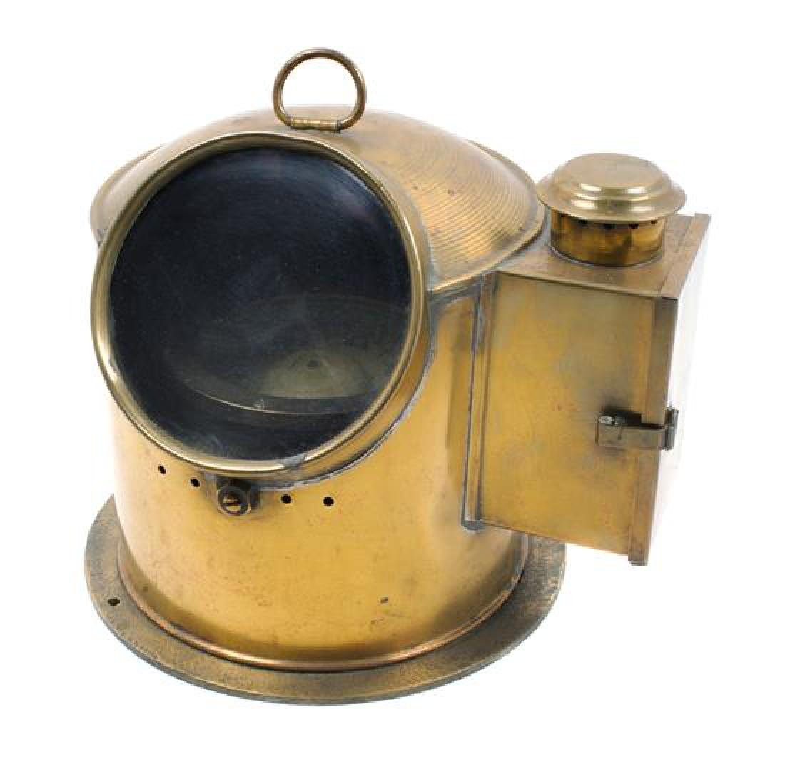 * A Brass Cased Ship's Binnacle Height 8 inches x width