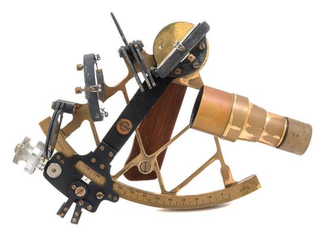 * An English Brass and Wood Mounted Sextant Radius of