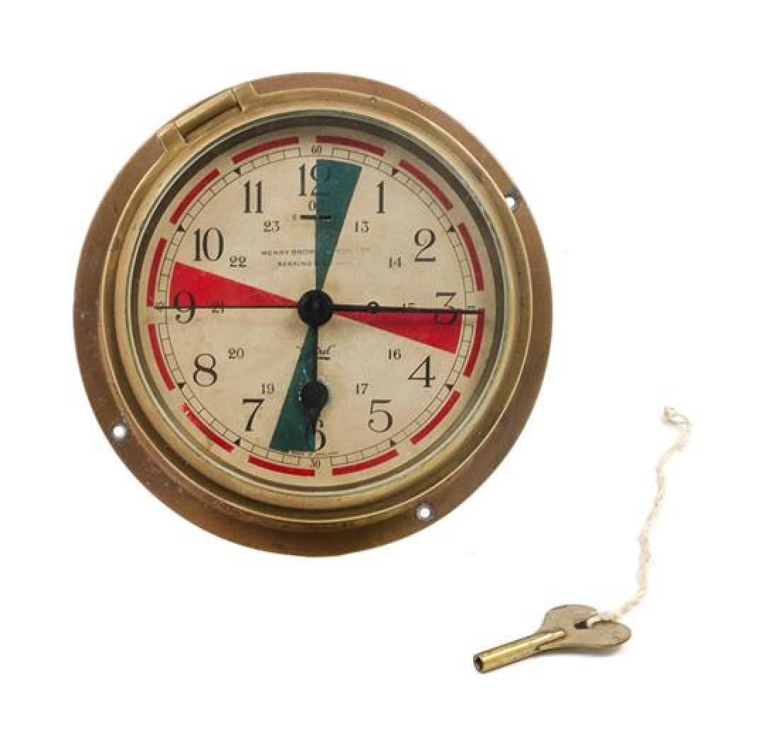 * An English Brass Cased Ship's Bulkhead Clock Diameter