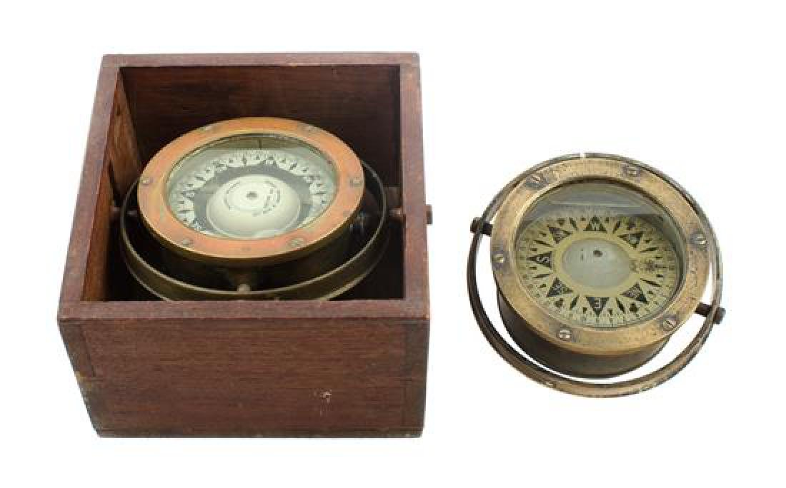 * Two English Brass Cased Ship's Compasses Diameter of