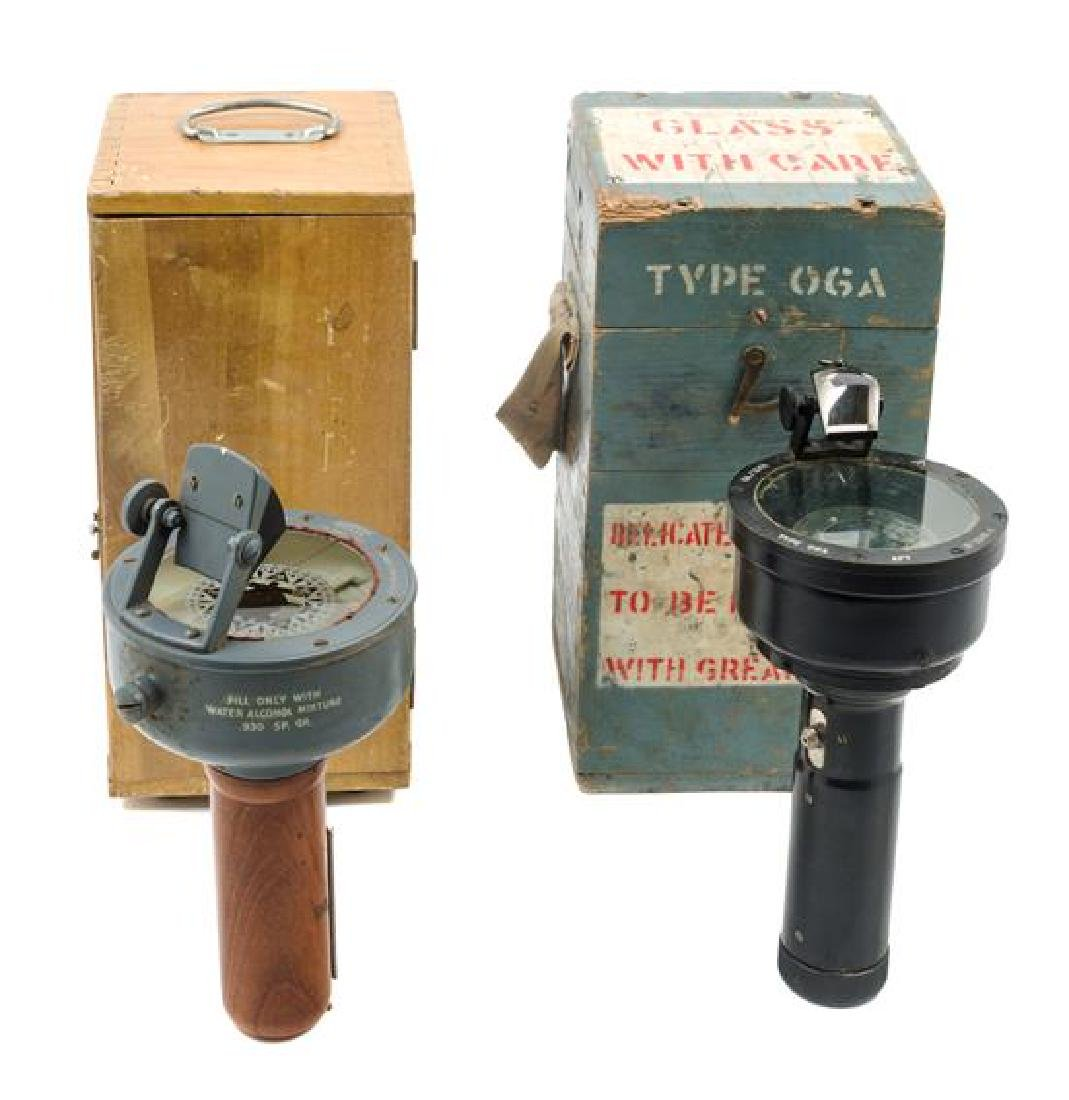 * Two English Metal Hand-Held Landing Compasses Height