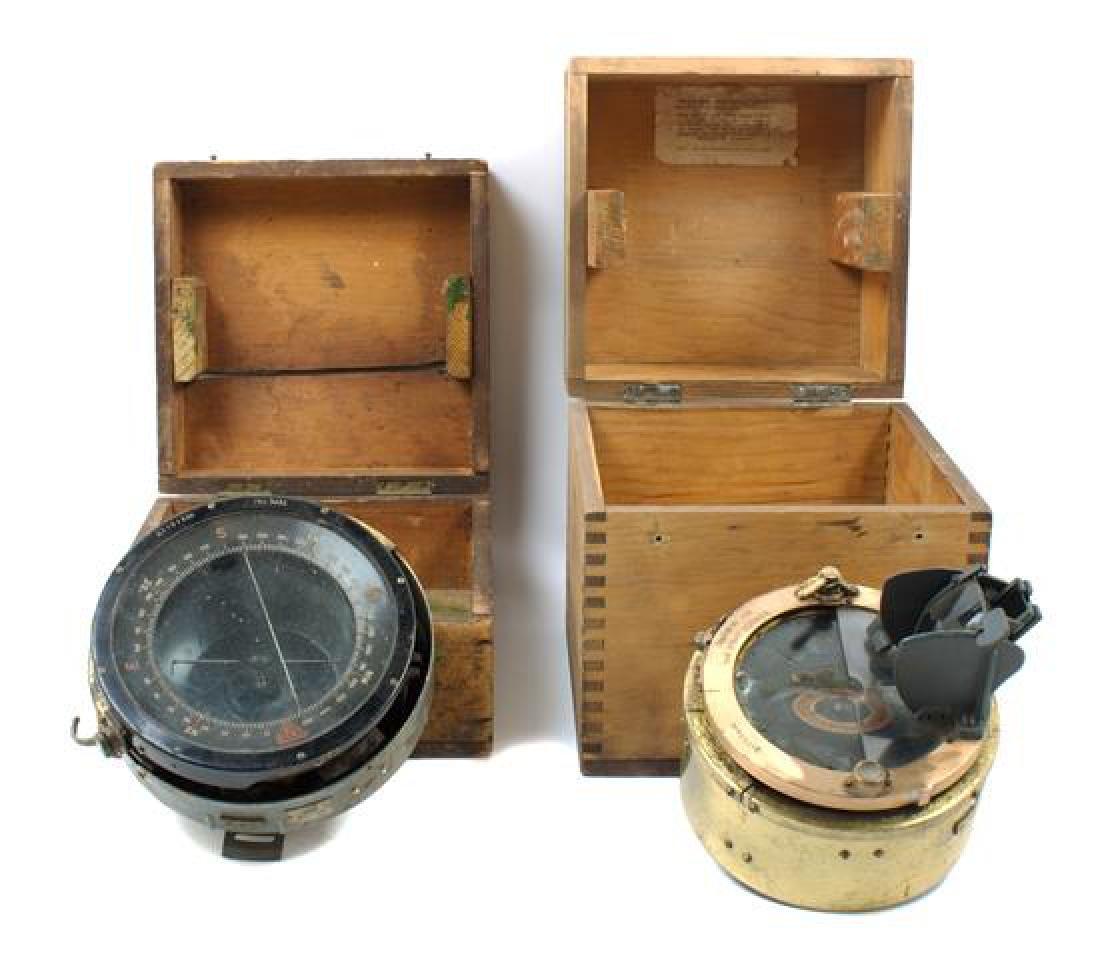 * An English Brass Mounted Ship's Compass Diameter of