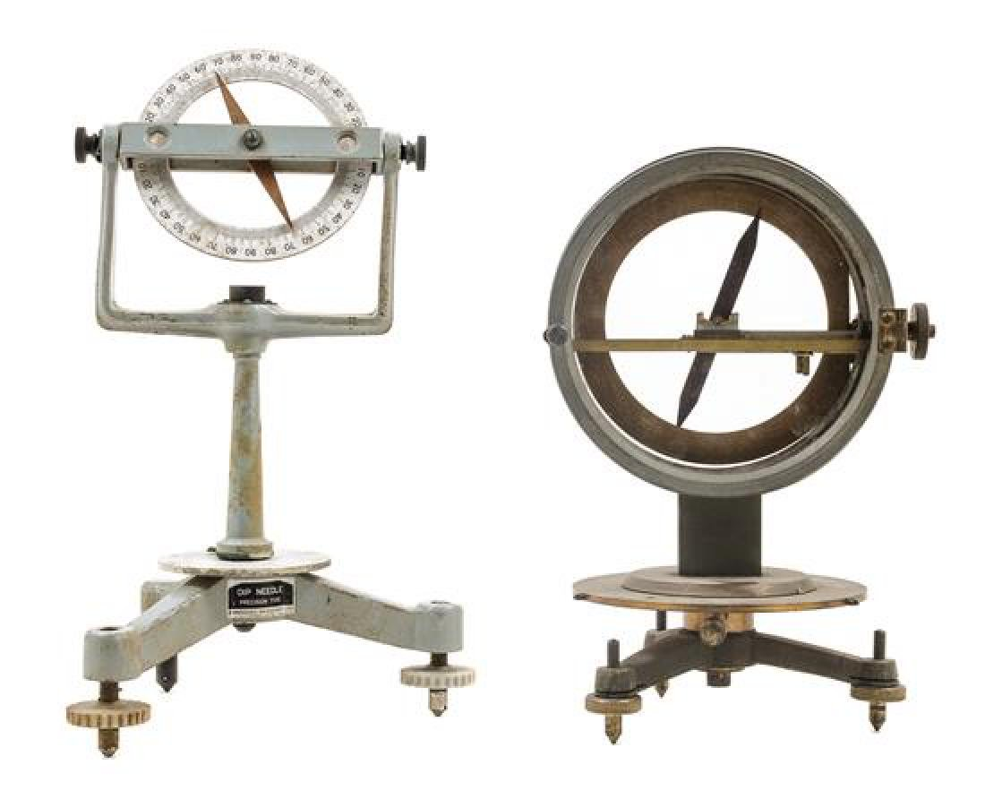 * Two Tripod Compasses Height of first 10 3/8 inches.