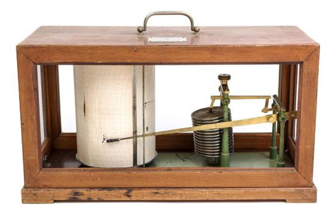 * A French Wood and Glass Cased Barograph