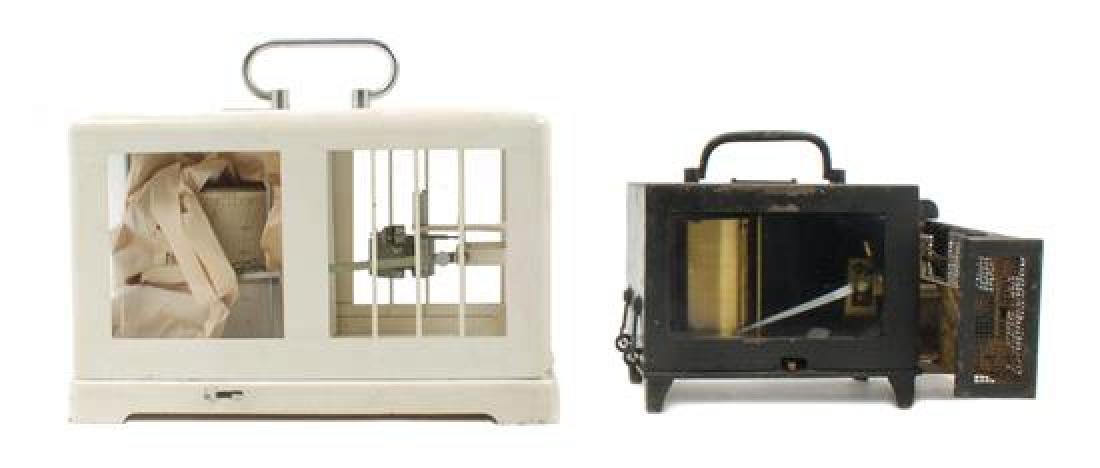 * Two Metal Cased Barographs Height of larger 7 x width