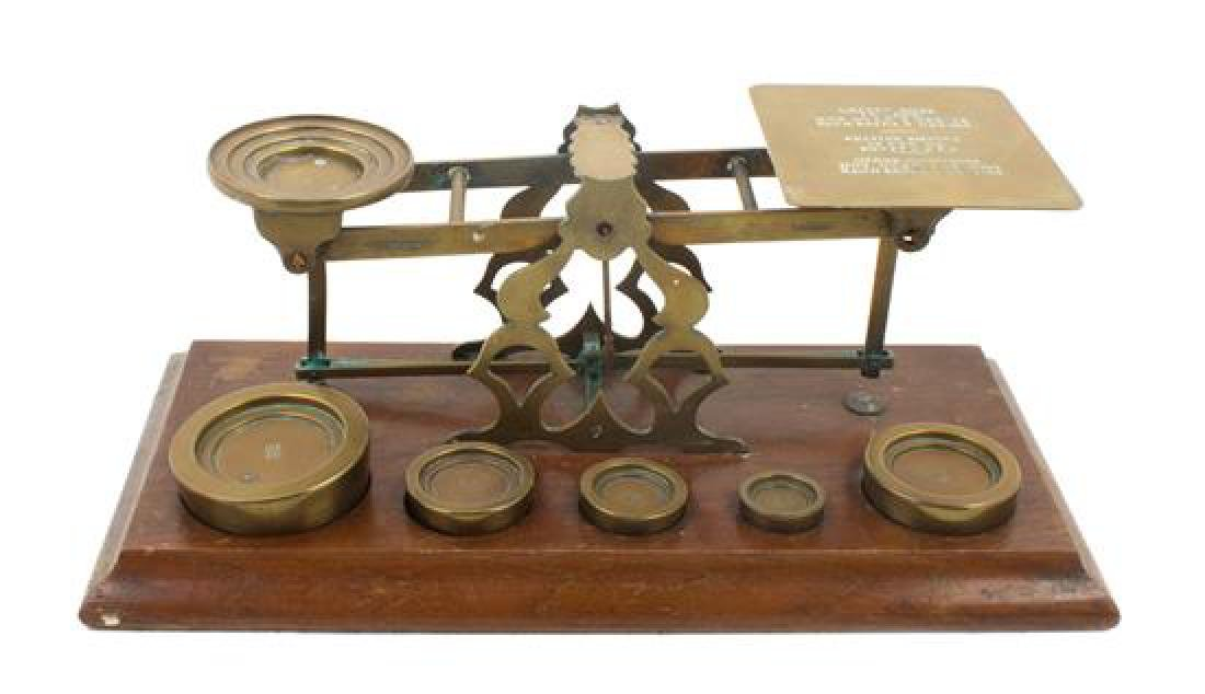 * An English Brass Postal Scale and Weights Width of