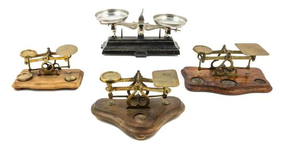 * A Group of Three Brass Postal Scales Width of widest