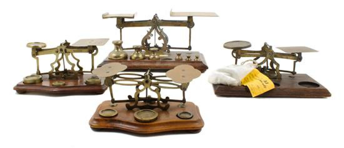 * A Group of Four Brass Postal Scales and Weights Width