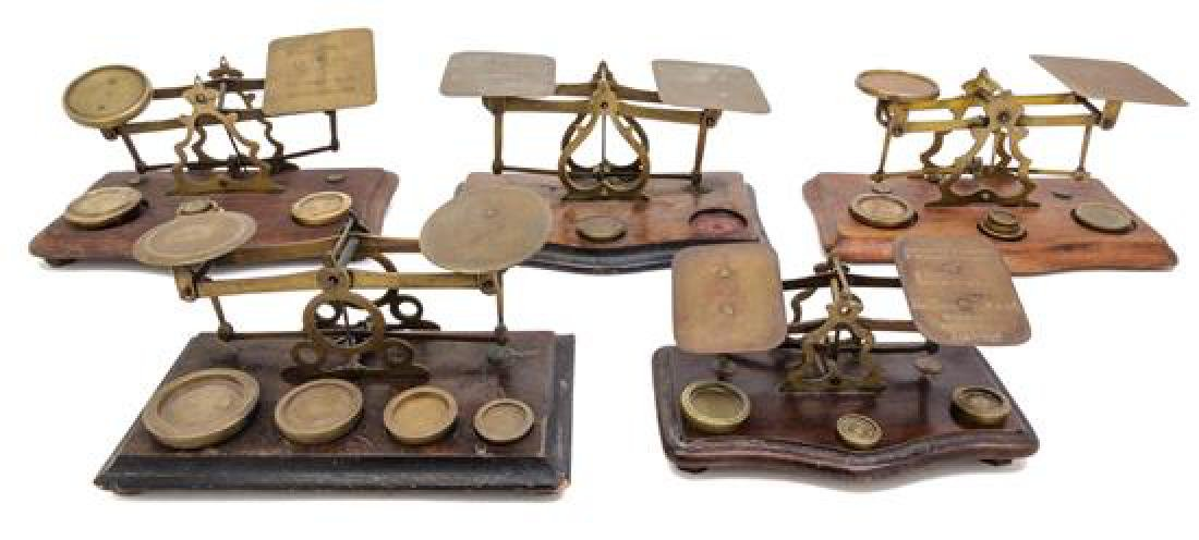 * A Group of Five Brass Postal Scales Width of largest