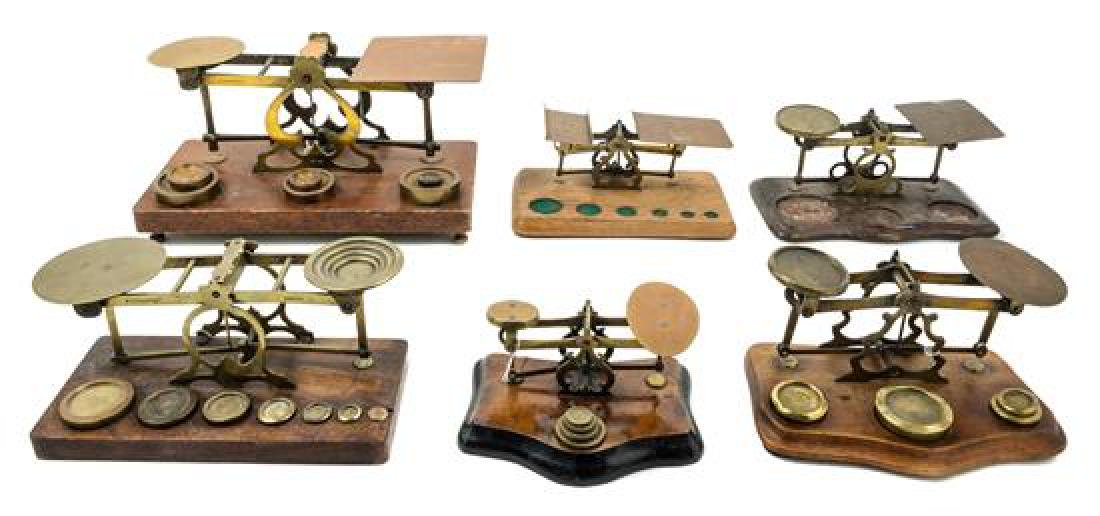 * A Group of Six Brass Postage Scales Width of largest
