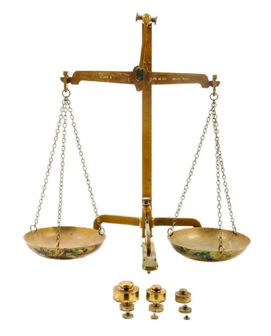 * A Brass Balance Scale Height 18 1/4 inches.