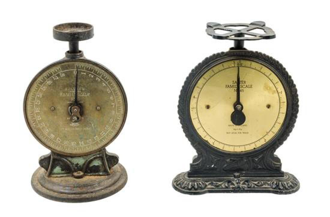 * Two Cast Metal Salter's Family Scale Scales Height of