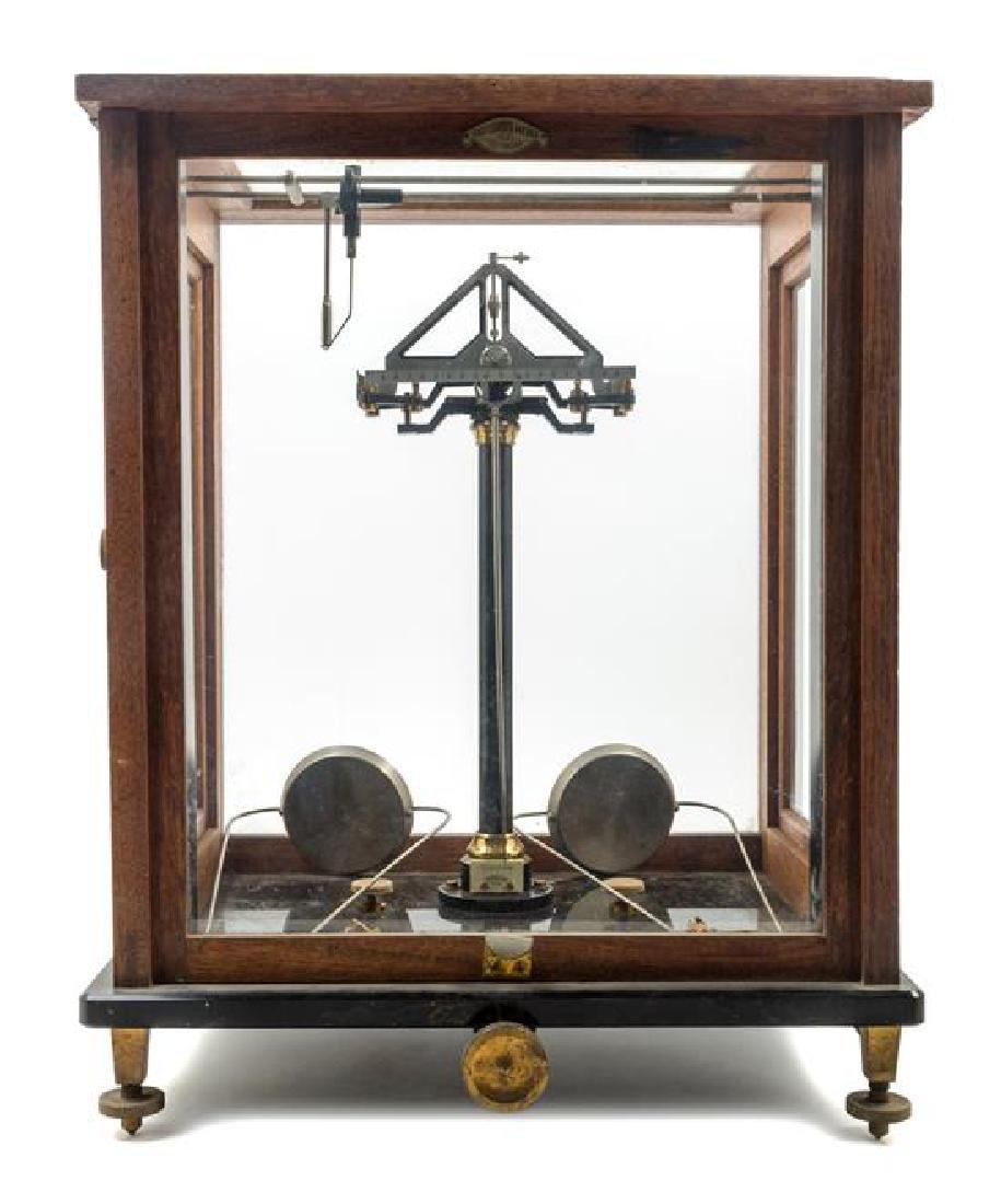 * A German Oak Cased and Brass Assayer's Balance Height