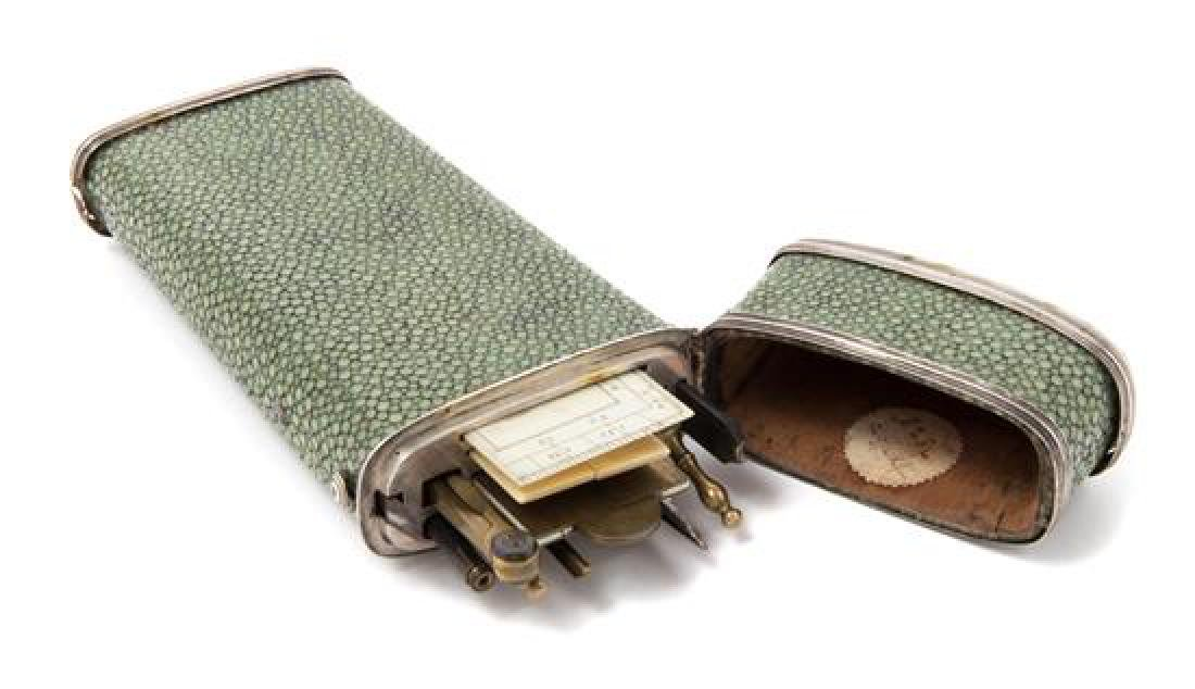 * A Dutch Shagreen and Silver-Mounted Cased Drawing