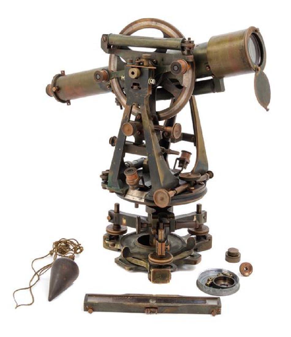 * An English Brass Transit Theodolite Length of scope