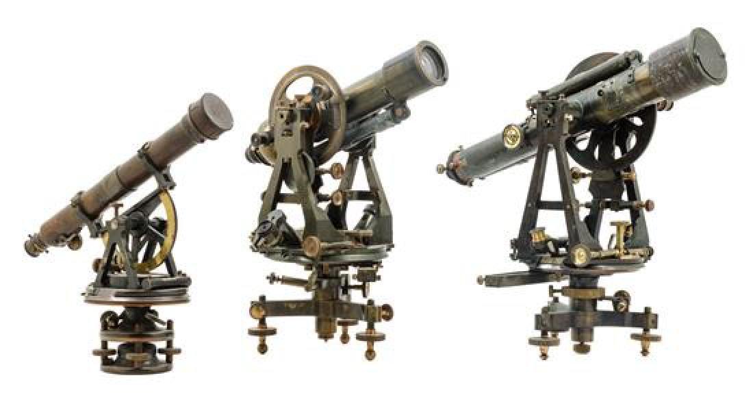 * Three English Brass Theodolites Length of longest