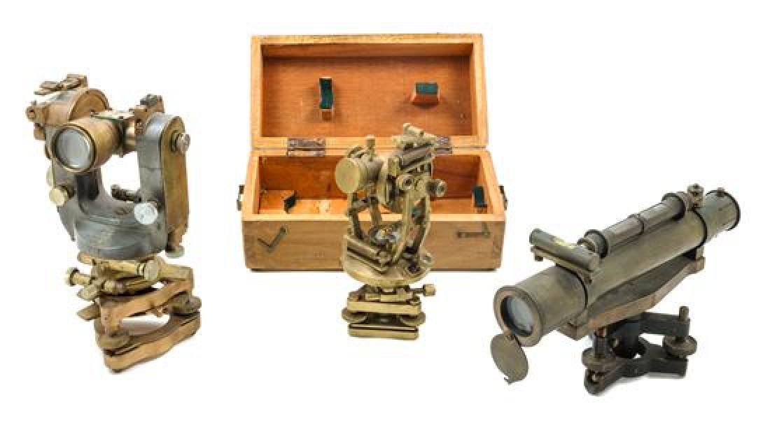 * A Group of Three Brass Theodolites Length of longest