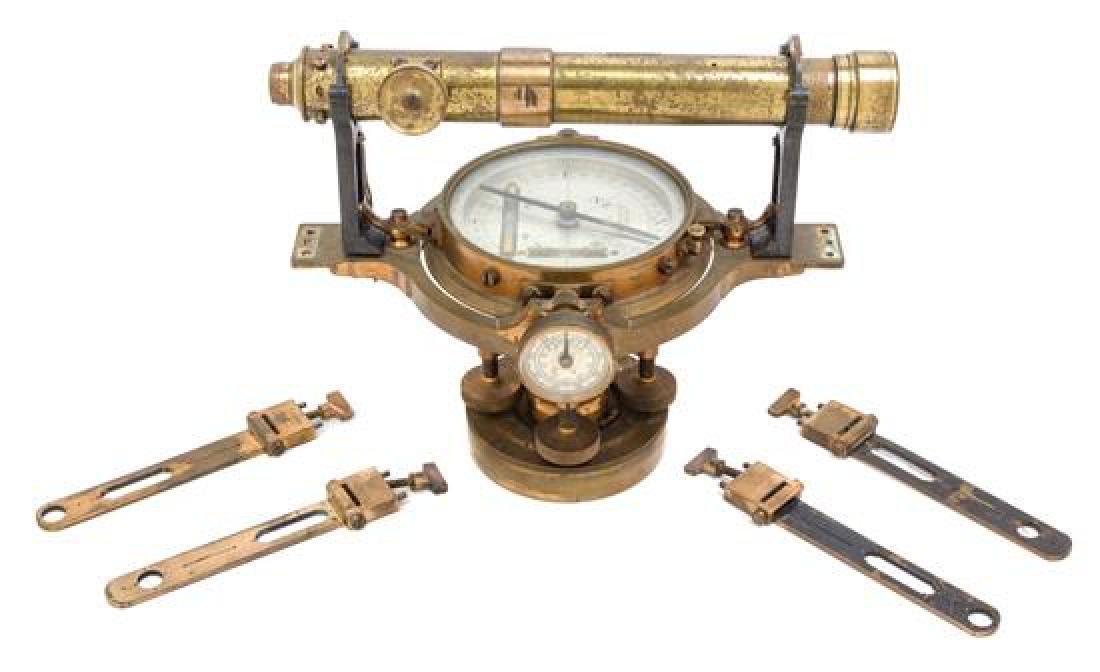 * An English Brass Surveyor's Transit Compass Base