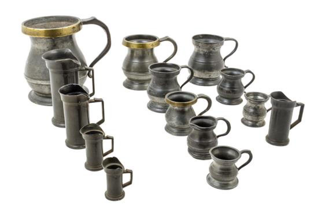 * A Collection of Pewter and Mixed Metal Measuring