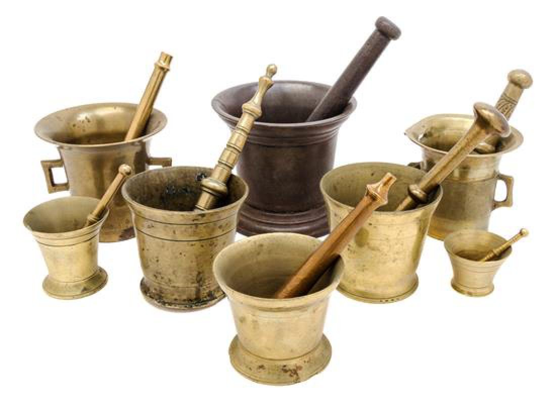 * A Collection of Brass and Mixed Metal Mortar and