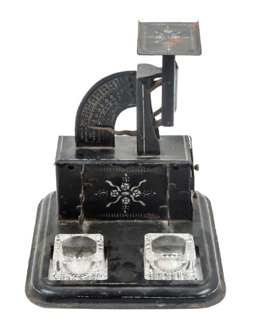 * An American Painted Metal Postage Scale Standish
