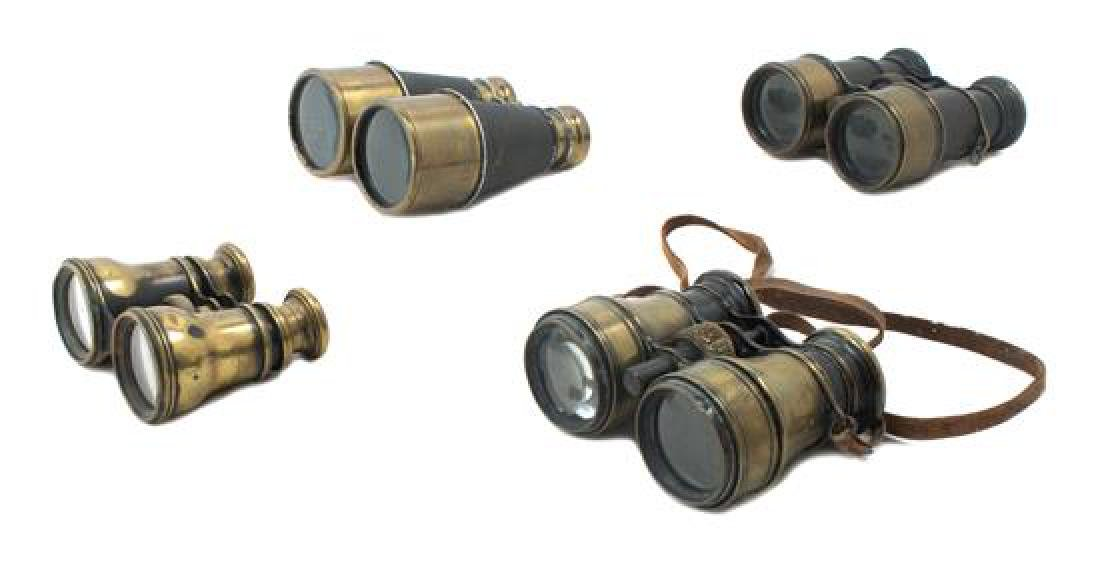 * A Group of Four Brass Binoculars Width of widest 4