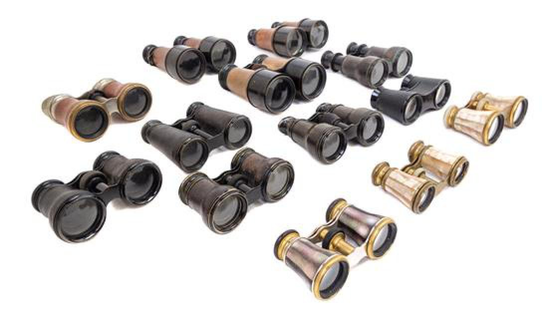 * A Collection of Binoculars and Opera Glasses Width of
