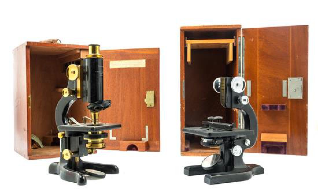 * Two English Black Lacquered Microscopes Height of