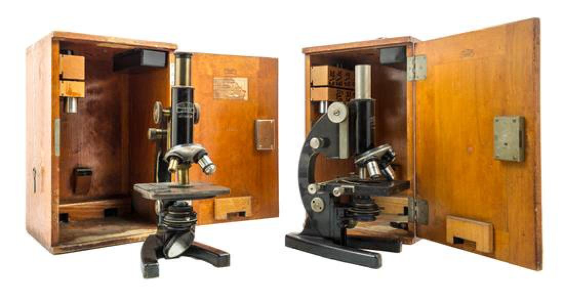 * Two German Black Lacquered Microscopes Height of