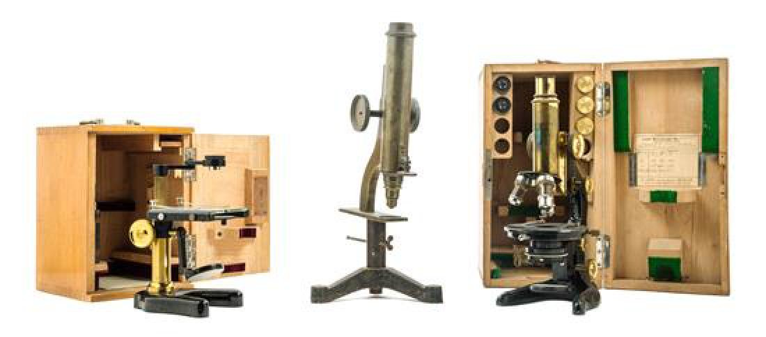* A Group of Three Microscopes Height of tallest 14 3/4