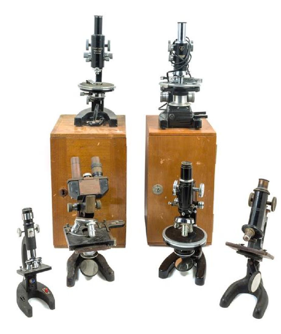 * A Group of Five Black Lacquered Microscopes Height of