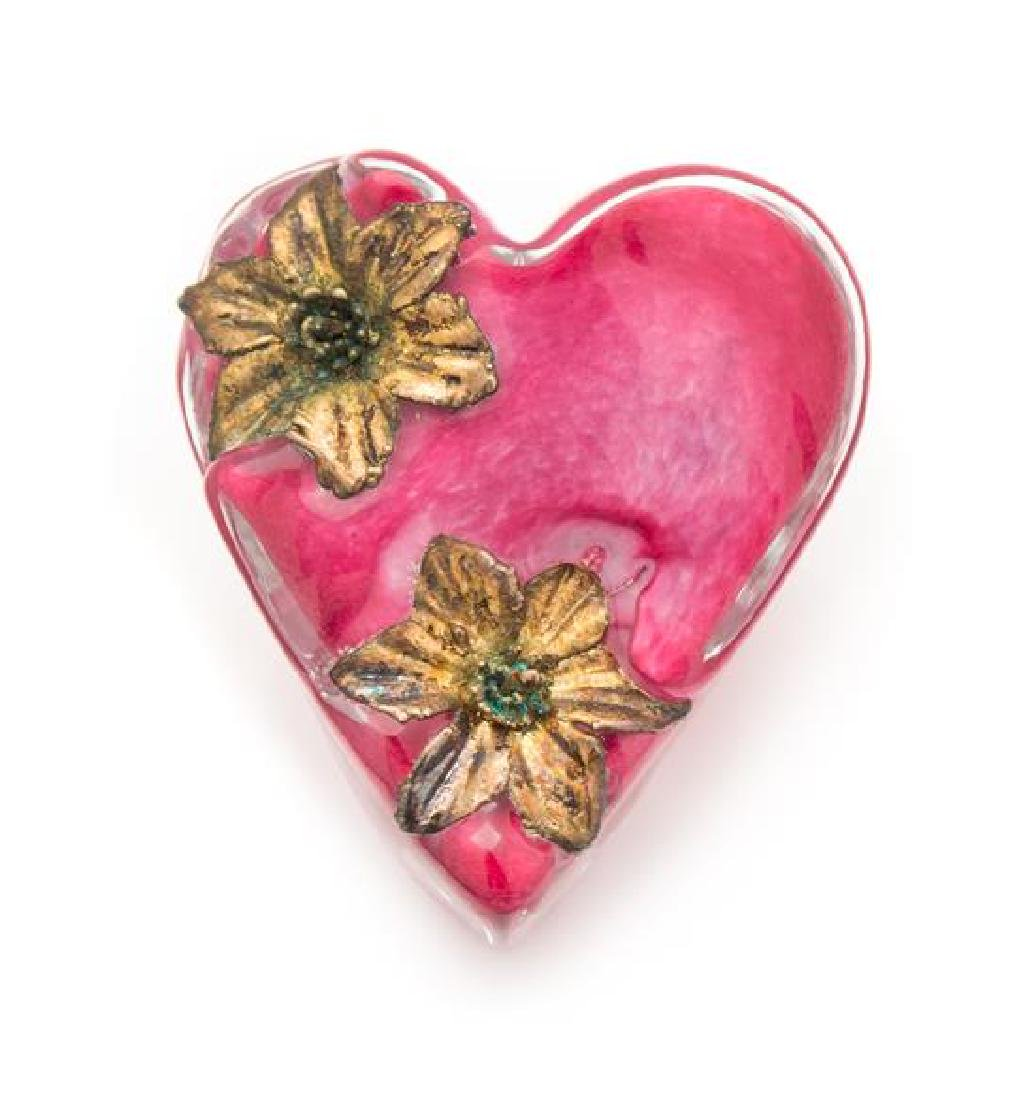 * Andrew Fote, (American), Heart in Blossom paperweight