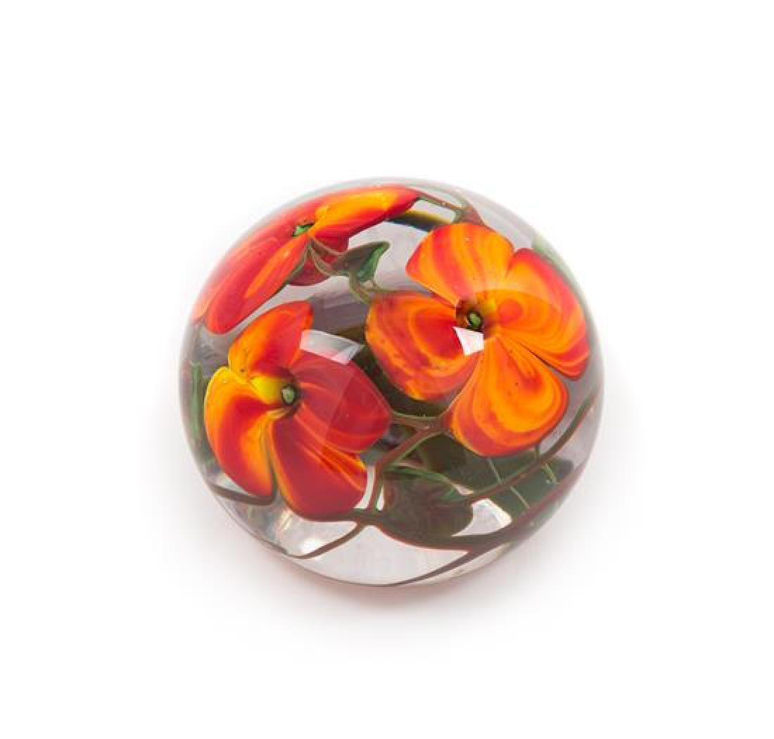 * Richard Olma, (American), a floral paperweight, 1983