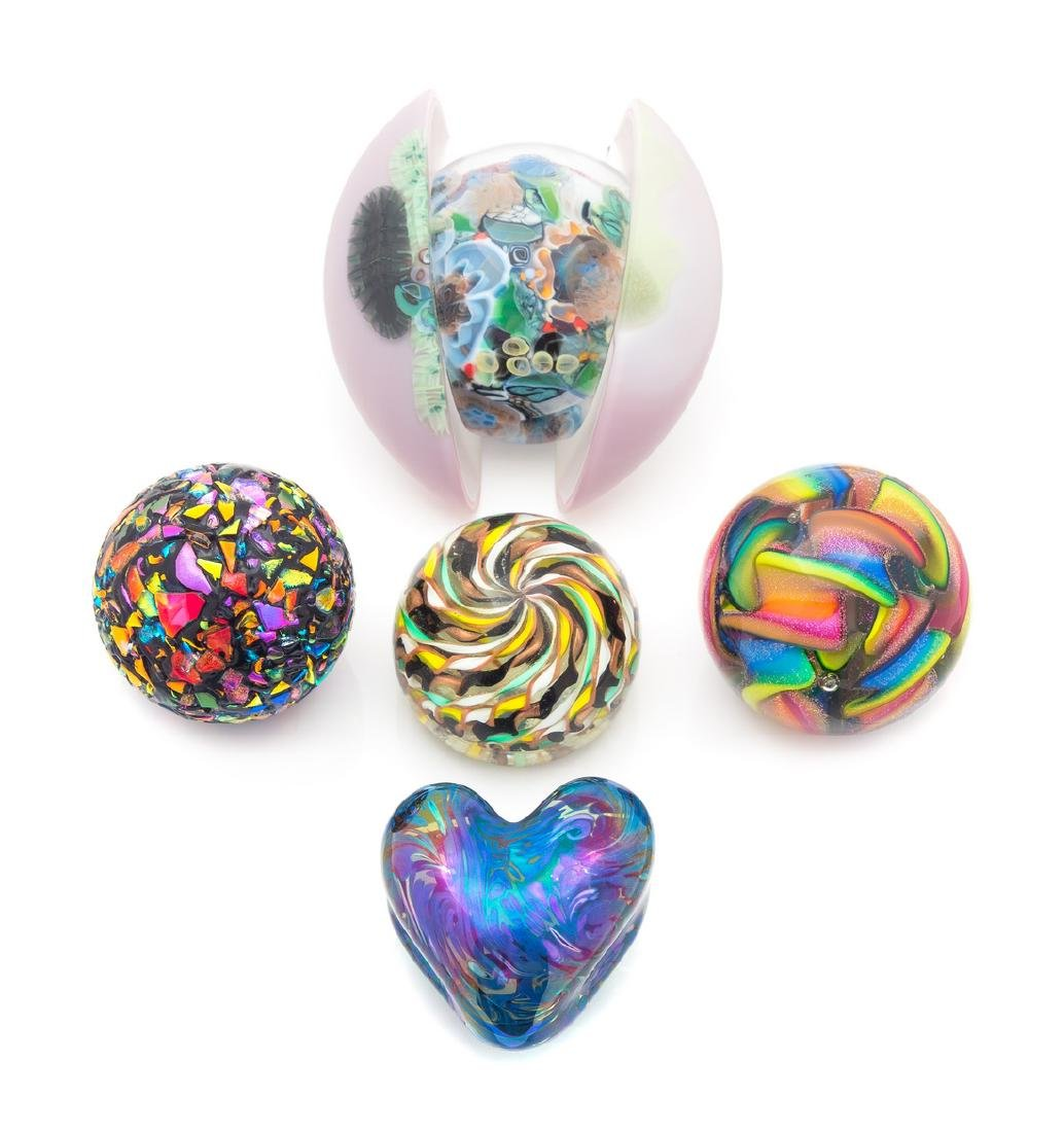 * A Group of Five Modern Glass Paperweights Width of