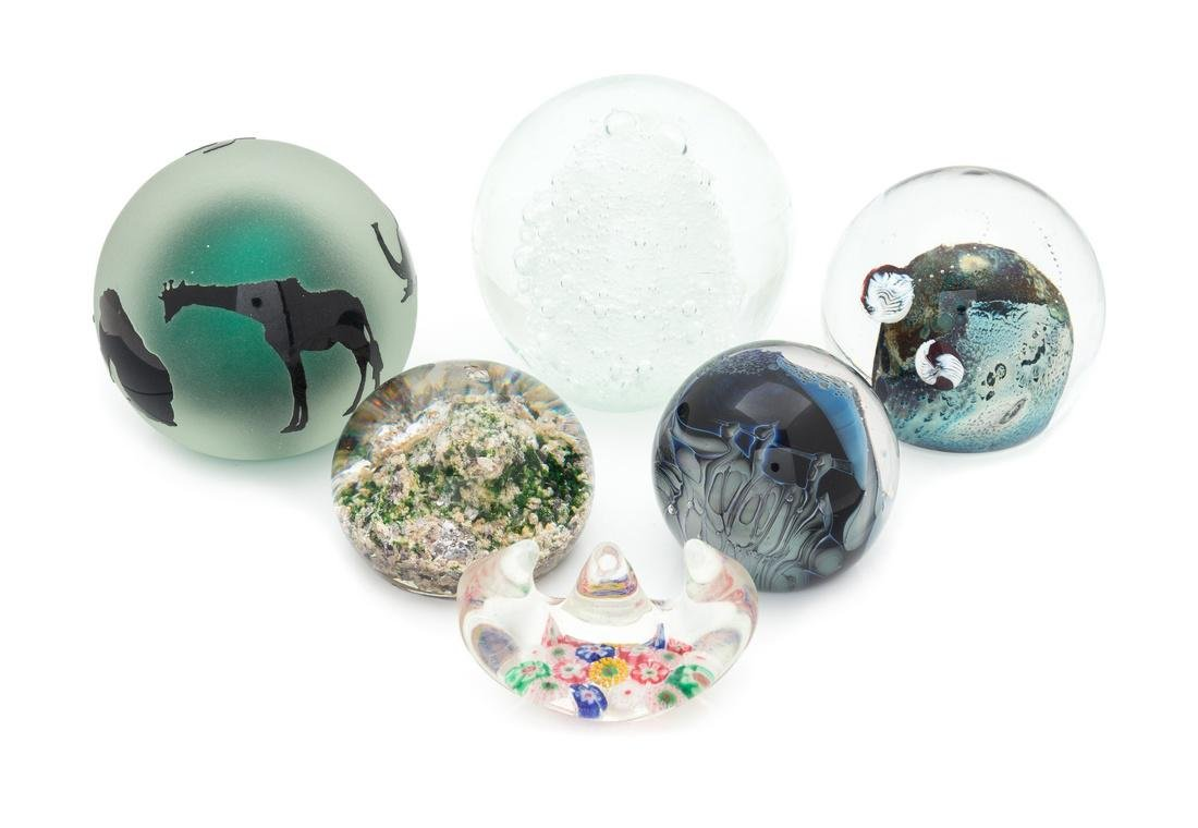 * A Group of Six Glass Paperweights Diameter of largest