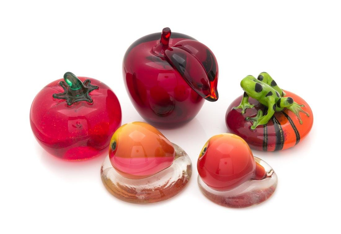 * A Group of Five Glass Paperweights Height of tallest