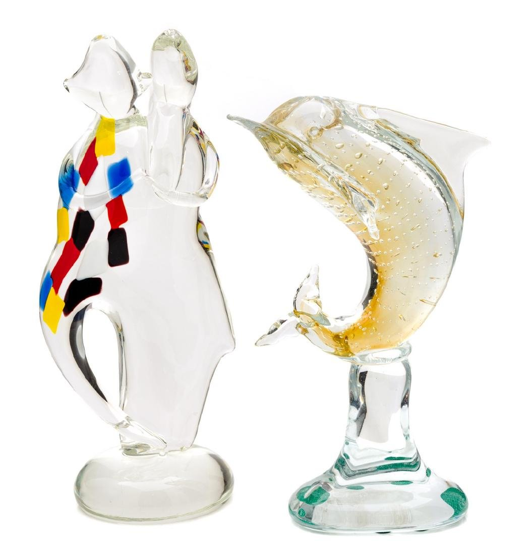 Two Murano Glass Sculptures Height of taller: 13 1/2
