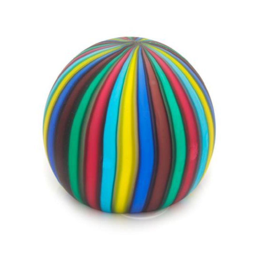 * An Italian Frosted Multicolored Paperweight Diameter