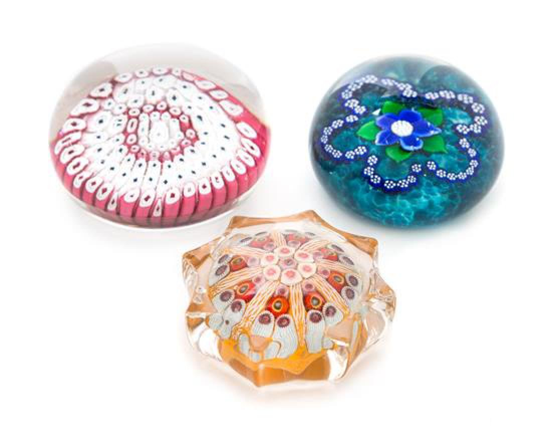 * A Group of Three Millefiori Paperweights Diameter of