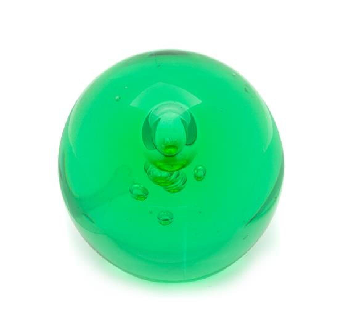 * A San Pacific Green Bottle Paperweight Diameter 2 1/2