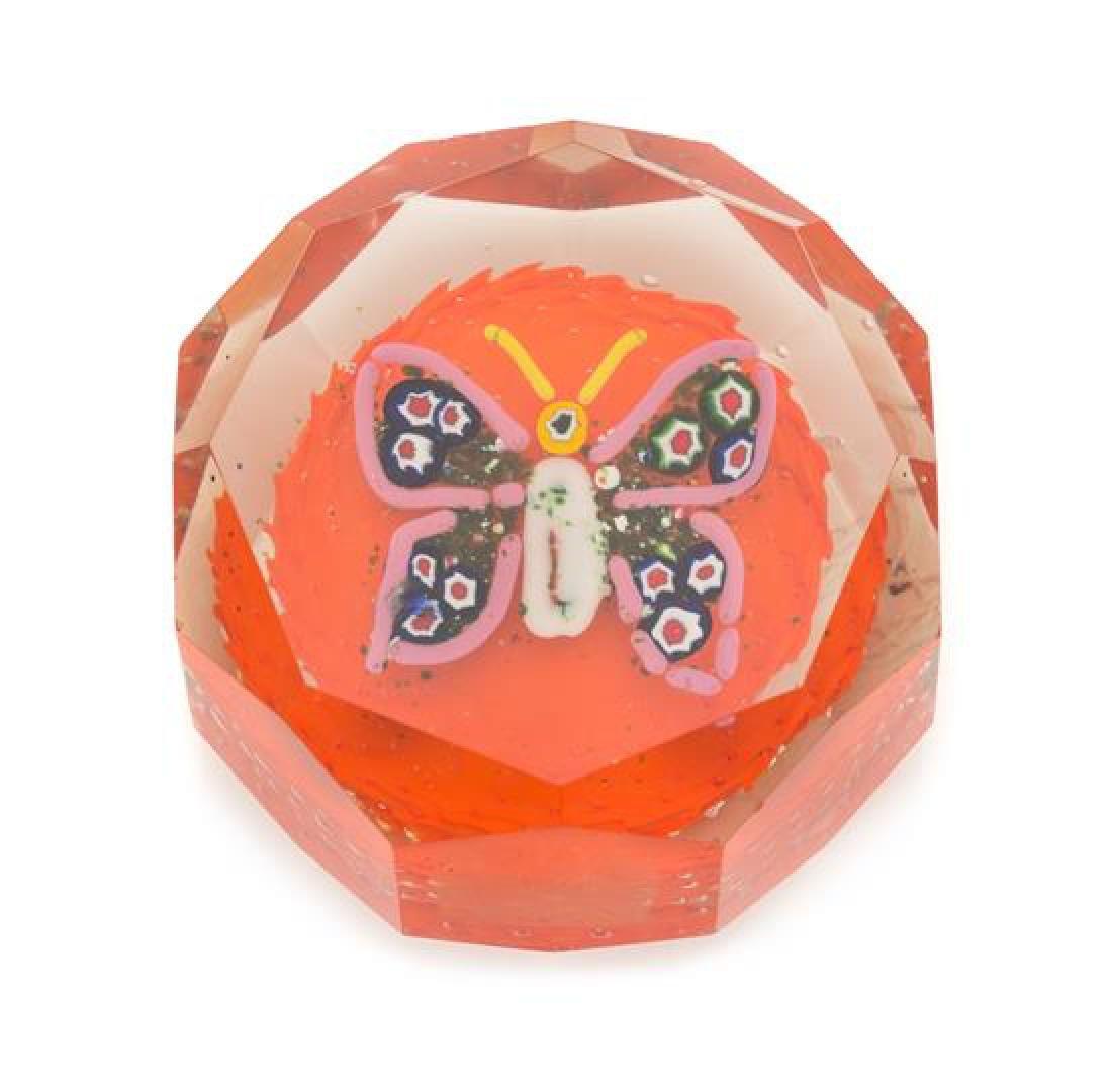 * A Millefiori Glass Butterfly Paperweight Diameter 3