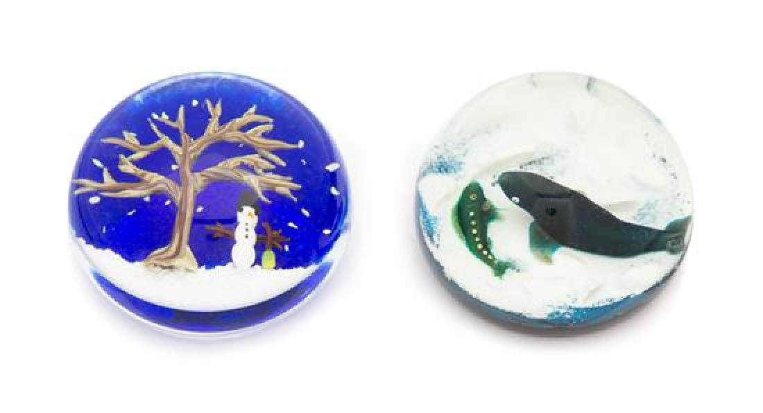 * Two Glass Paperweights Diameter of first 3 inches