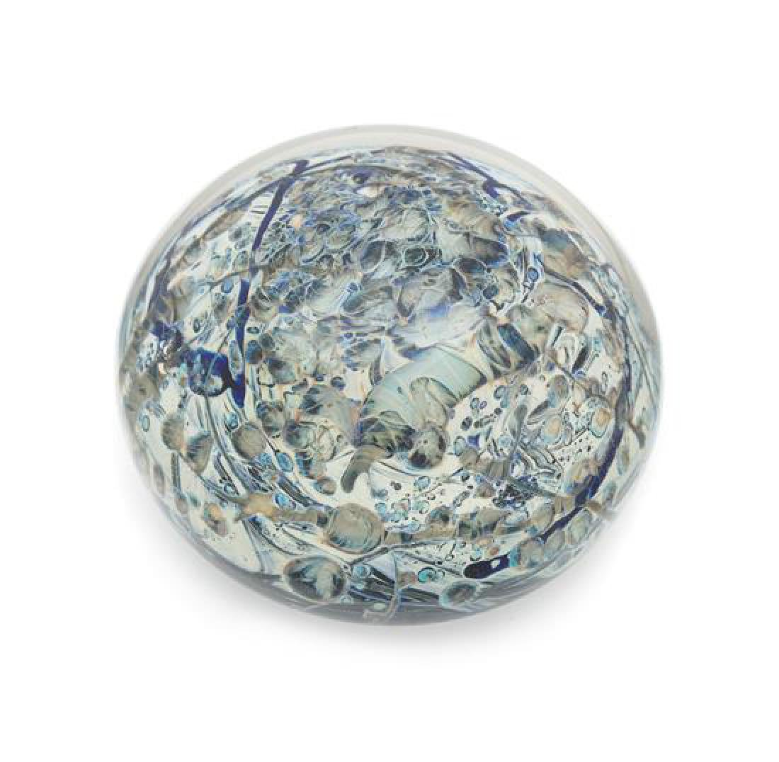 * A Sweet Clear-Encased Abstract Paperweight Diameter 3